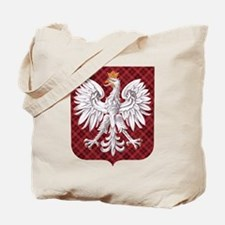 Polish Eagle Plaid Crest Tote Bag