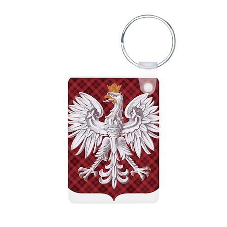 Polish Eagle Plaid Crest Aluminum Photo Keychain