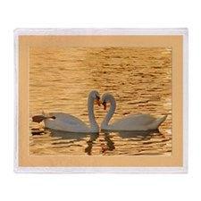 Swan Couple at Sunset Throw Blanket