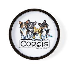 Corgi Fan Wall Clock