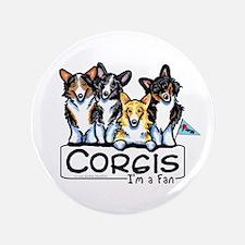 """Corgi Fan 3.5"""" Button"""