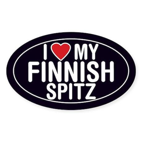 I Love My Finnish Spitz Oval Sticker/Decal