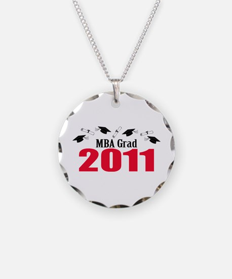 MBA Grad 2011 (Red Caps And Diplomas) Necklace