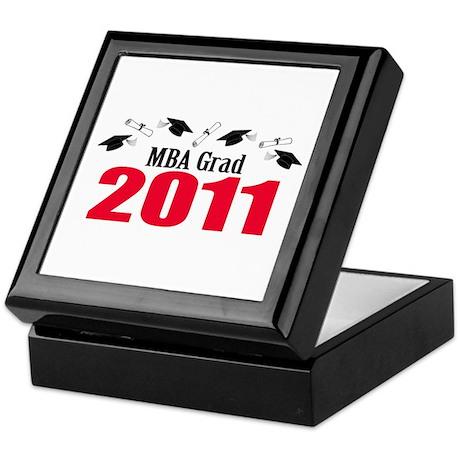 MBA Grad 2011 (Red Caps And Diplomas) Keepsake Box