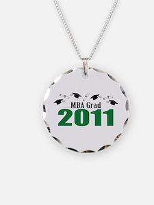 MBA Grad 2011 (Green Caps And Diplomas) Necklace