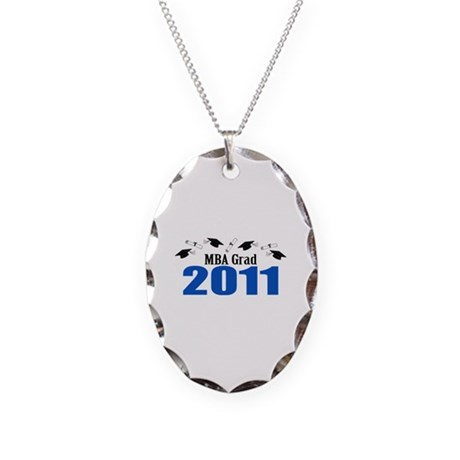 MBA Grad 2011 (Blue Caps And Diplomas) Necklace Ov