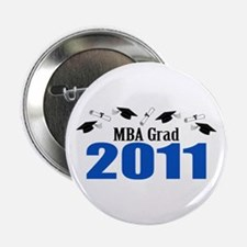 """MBA Grad 2011 (Blue Caps And Diplomas) 2.25"""" Butto"""