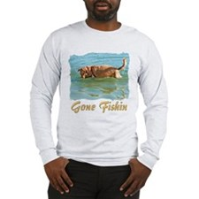 Golden Retriever Gone Fishin Long Sleeve T-Shirt