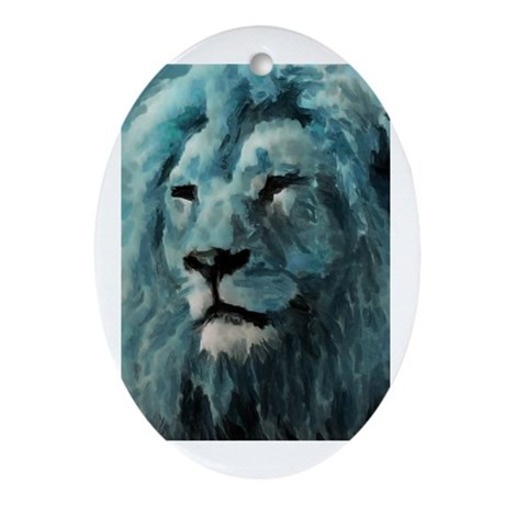 Blue Lion Ornament (Oval)
