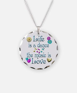 Live Dance Love Necklace Circle Charm