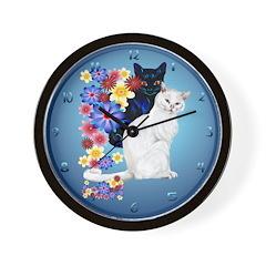 Black and White Garden Kitties.. Wall Clock