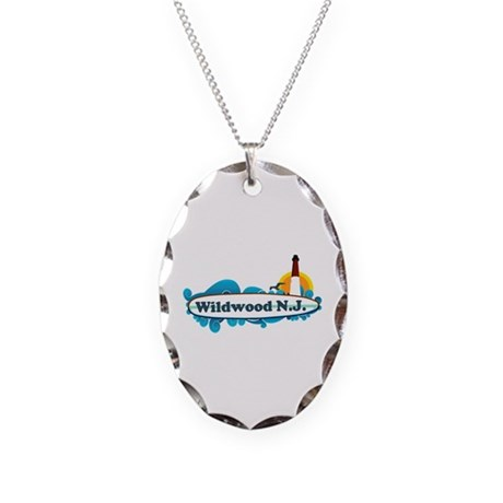 Wildwood NJ - Surf Design Necklace Oval Charm