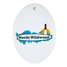 North Wildwood NJ - Surf Design Ornament (Oval)