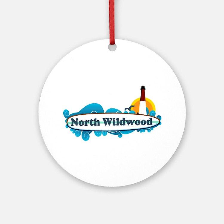 North Wildwood NJ - Surf Design Ornament (Round)