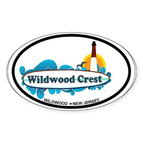 Wildwood Crest NJ - Surf Design Sticker (Oval 10 p