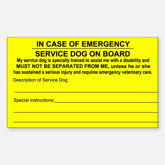 Service Dog on Board In case of Emergency Bumper Stickers