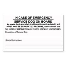 Service Dog on Board In case of Emergency Decal