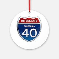 Interstate 40 - California Ornament (Round)