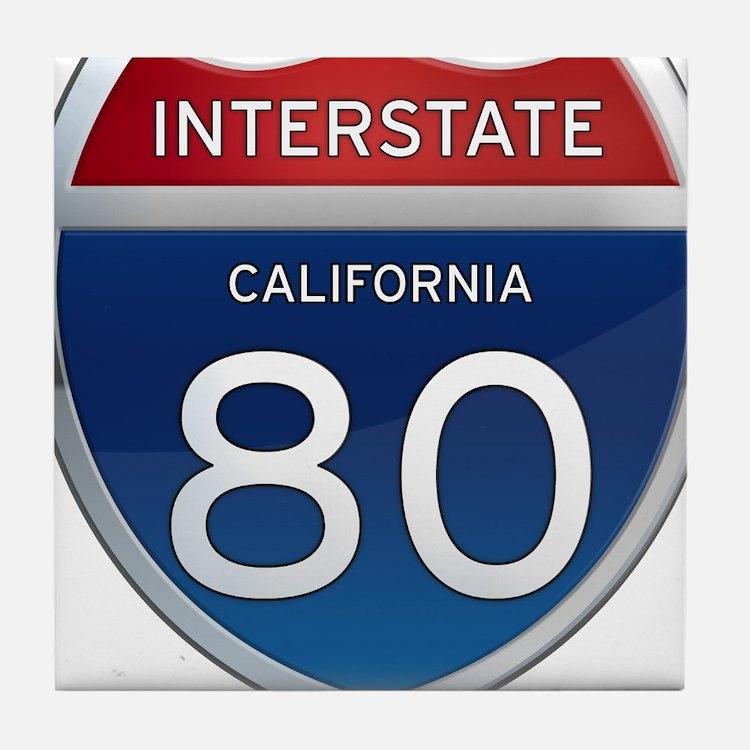 Interstate 80 - California Tile Coaster