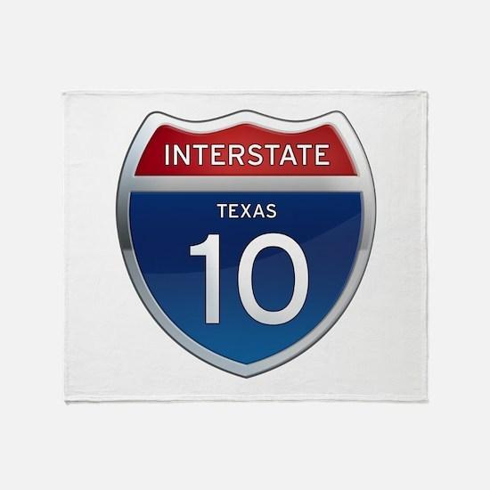 Interstate 10 - Texas Throw Blanket