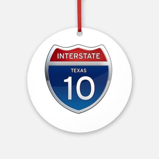 Interstate 10 - Texas Ornament (Round)