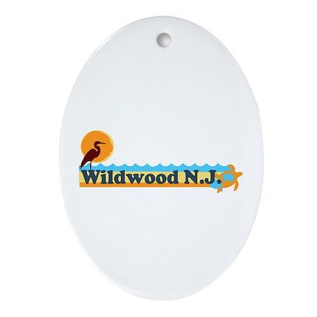 Wildwood NJ - Beach Design Ornament (Oval)