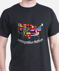 USA: Immigration Nation Black T-Shirt