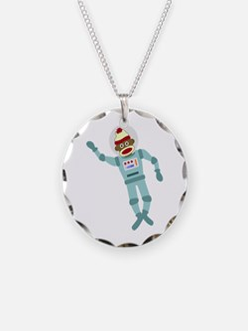 Sock Monkey Astronaut Necklace
