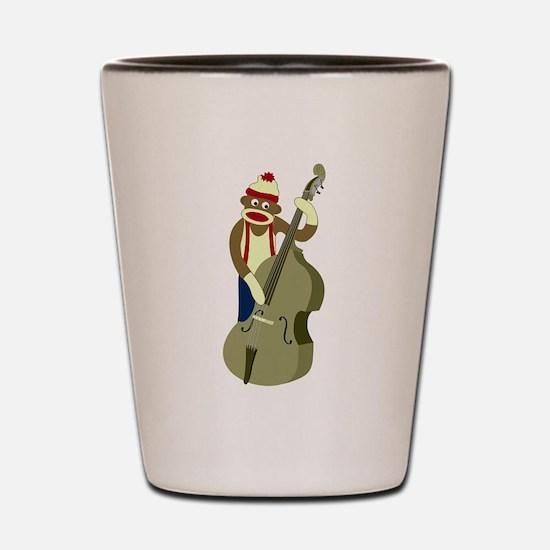 Sock Monkey Bass Player Shot Glass