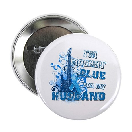 "I'm Rockin' Blue for my Husband 2.25"" Button"