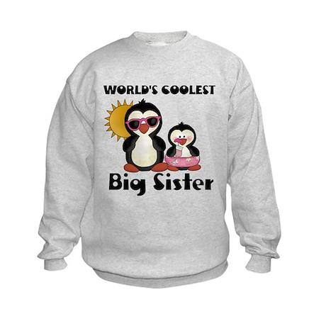 Coolest big sister penguin Kids Sweatshirt