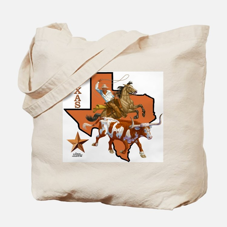 Texas Cowboy & Longhorn Tote Bag