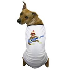 Sock Monkey Blue Guitar Dog T-Shirt
