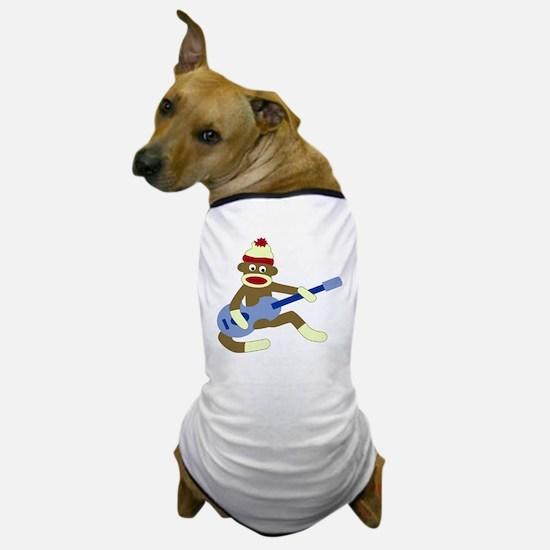 Sock Monkey Blue Guitar Dog T-Shirt
