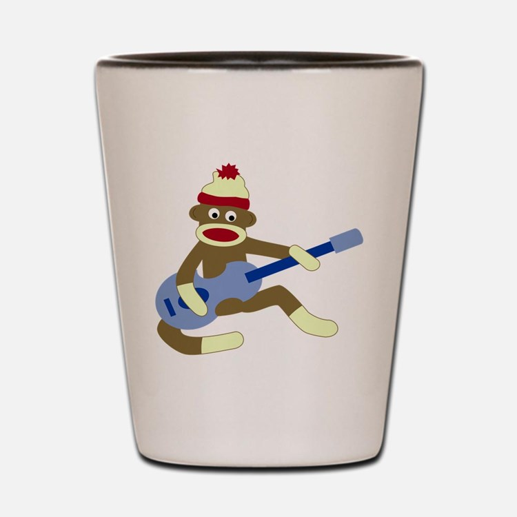 Sock Monkey Blue Guitar Shot Glass