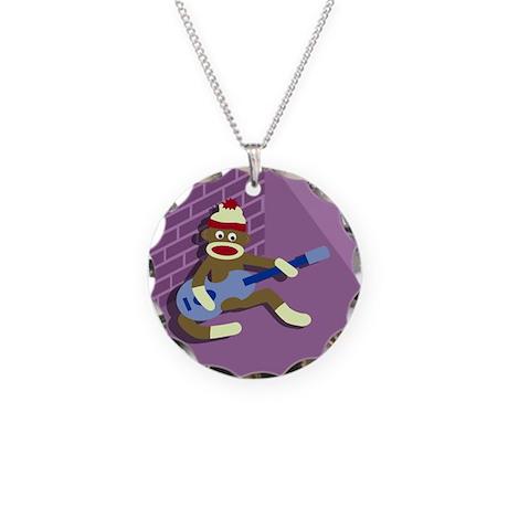 Sock Monkey Blue Guitar Necklace Circle Charm