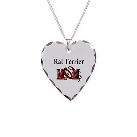Rat Terrier Mom Necklace Heart Charm