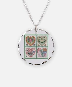 4-Hearts Cross-Stitch Necklace