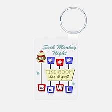 Sock Monkey Bowling Tiki Keychains