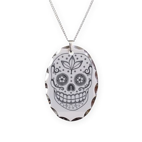 Sugar Skull Necklace Oval Charm