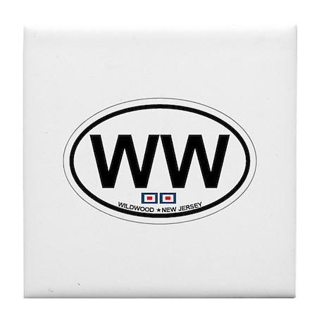 Wildwood NJ - Oval Design Tile Coaster