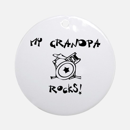 My Grandpa Rocks Drums Ornament (Round)