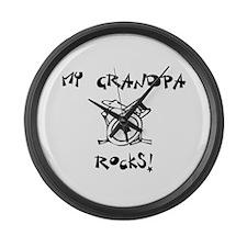 My Grandpa Rocks Drums Large Wall Clock