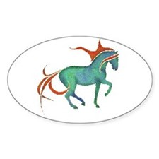 mosaic horse Oval Decal