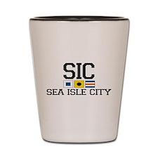 Sea Isle City NJ - Nautical Flags Shot Glass