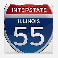 Interstate 55 - Illinois Tile Coaster