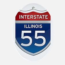 Interstate 55 - Illinois Ornament (Oval)