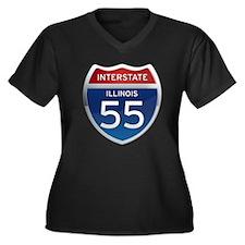 Interstate 55 - Illinois Women's Plus Size V-Neck