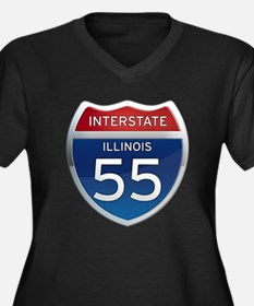 Interstate 55 - Illinois Women's Plus Size V-Neck