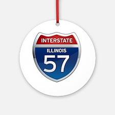 Interstate 57 - Illinois Ornament (Round)